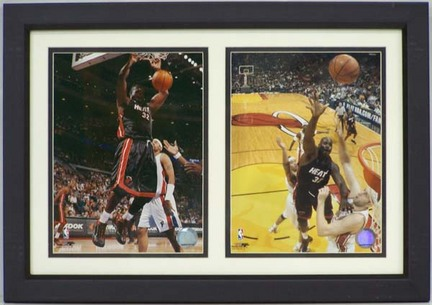 """Shaquille O'Neal Miami Heat Deluxe Framed Dual 8"""" x 10"""" Photographs"""