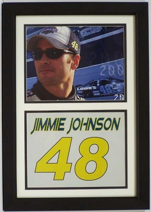 """Jimmie Johnson Photograph with Car Number in a 16"""" x 20"""" Deluxe Frame"""