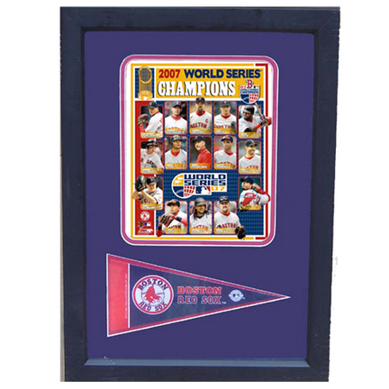 """2007 Boston Red Sox World Series Photograph with Team Pennant in a 12"""" x 18"""" Deluxe Frame"""