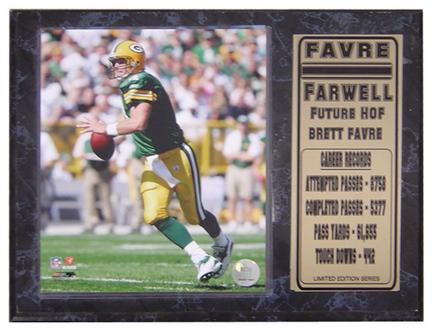 """Brett Favre Farewell Photograph Nested on a 9"""" x 12"""" Plaque"""