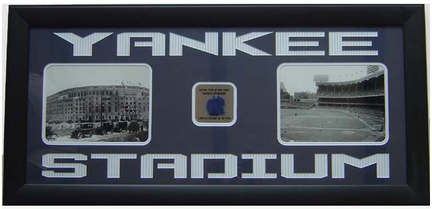 "New York Yankees Photo Collage and Piece of Game Used Carpet in a 38"" x 17.5"" Deluxe Frame"