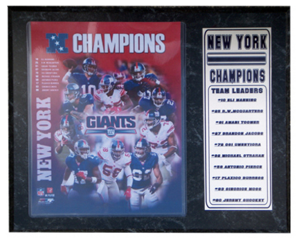 "New York Giants NFC Champions Photograph Nested on a 9"" x 12"" Plaque"