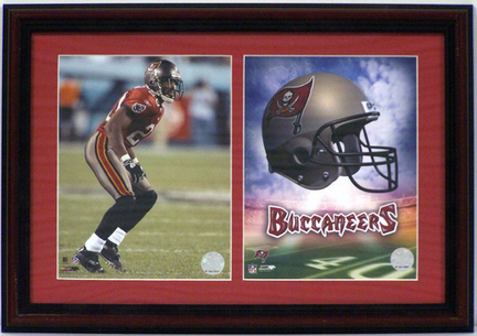 """Tiki Barber Tampa Bay Buccaneers Deluxe Framed Dual 8"""" x 10"""" Photographs"""