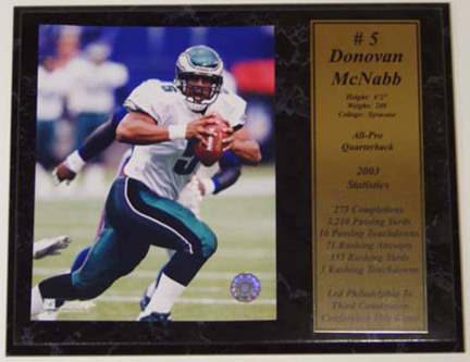 """Donovan McNabb Photograph with Statistics Nested on a 12"""" x 15"""" Plaque"""