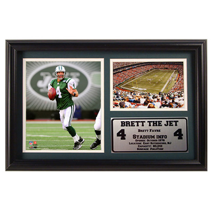 "Brett Favre Meadowlands Photograph with Statistics Nested on a 12"" x 15"" Plaque"