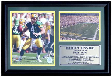 "Brett Favre Lambeau Field Photograph with Statistics Nested on a 12"" x 15"" Plaque"