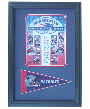 """2007 New England Patriots """"16-0"""" Photograph with Team Pennant in a 12"""" x 18"""" Deluxe Frame"""