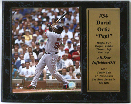 "David Ortiz Boston Red Sox Photograph with Statistics Nested on a 12"" x 15"" Plaque"