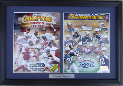 """New England Patriots / Boston Red Sox Champions Deluxe Framed Dual 8"""" x 10"""" Photographs"""