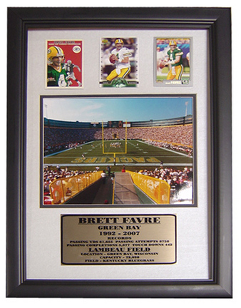 """Lambeau Field Photograph with 3 Brett Favre Trading Cards in a 12"""" x 18"""" Deluxe Frame"""