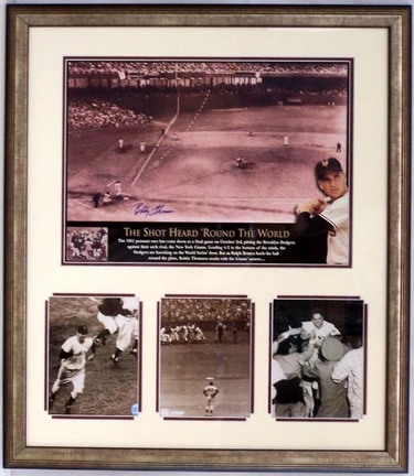 """Bobby Thomson """"Shot Heard Around the World"""" Autographed Photograph Collage in a 27"""" x 31"""" Deluxe Fra"""
