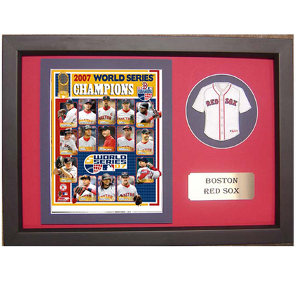 """2007 Boston Red Sox World Series Photograph with Team Jersey Patch in a 12"""" x 18"""" Deluxe Frame"""