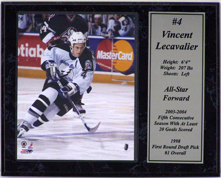 "Vincent Lecavalier Tampa Bay Lightning Photograph with Statistics Nested on a 12"" x 15"" Plaque"