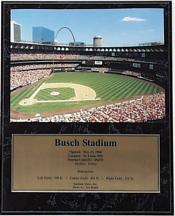 """Busch Stadium Photograph with Statistics Nested on a 12"""" x 15"""" Plaque"""
