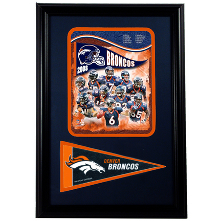 """Denver Broncos 2008 Photograph with Team Pennant in a 12"""" x 18"""" Deluxe Frame"""
