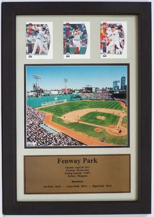 "Fenway Park Photograph with 3 Trading Cards in a 12"" x 18"" Deluxe Frame"