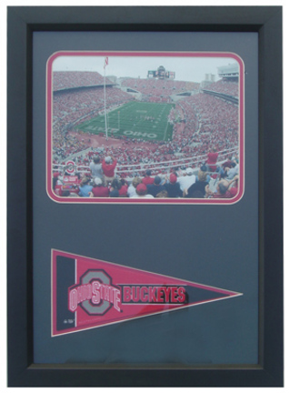"""Ohio State Buckeyes Photograph with Team Pennant in a 12"""" x 18"""" Deluxe Frame"""