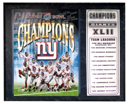 """New York Giants World Champions Photograph Nested on a 9"""" x 12"""" Plaque"""