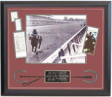 """Ron Turcotte """"Winning the Triple Crown"""" Autographed Photograph Photo Collage in Deluxe Frame"""