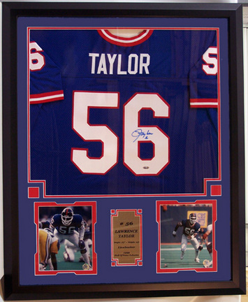 Lawrence Taylor Autographed New York Giants Home Jersey and Photo Collage in Deluxe Frame