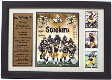 """Pittsburgh Steelers 2005 Super Bowl Champion Photograph with 3 Trading Cards in a 12"""" x 18"""" Deluxe Frame"""