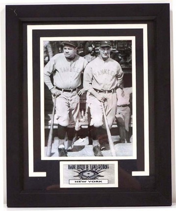 """Babe Ruth and Lou Gehrig Photograph in a 13"""" x 16"""" Deluxe Frame"""
