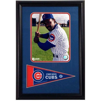 """Andre Dawson Photograph with Team Pennant in a 12"""" x 18"""" Deluxe Frame"""
