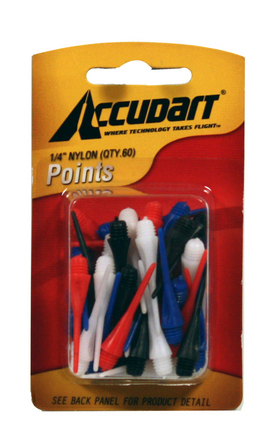 "Accudart Card 3/16"" Nylon Points - 60 Count"