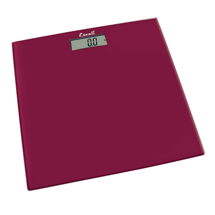 Rio Red Glass Square Platform Digital Bathroom Scale (440 lb. / 200 Kg Capacity)