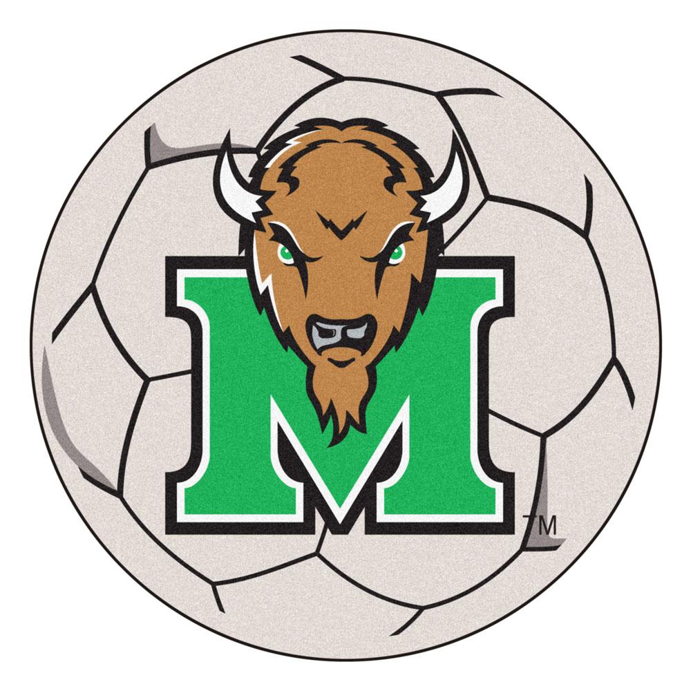 """27"""" Round Marshall Thundering Herd Soccer Mat"""