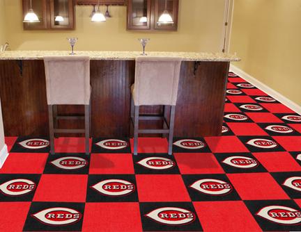 Cincinnati Reds 18in x 18in Carpet Tiles (Box of 20)