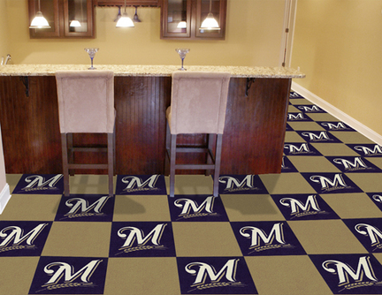 Milwaukee Brewers 18in x 18in Carpet Tiles (Box of 20)