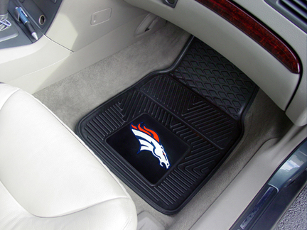"Denver Broncos 18"" x 27"" Heavy Duty 2-Piece Vinyl Car Mat Set"