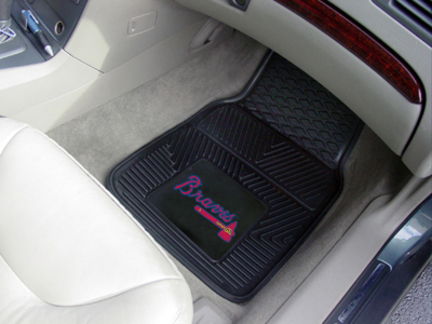 Atlanta Braves 18in x 27in Heavy Duty 2-Piece Vinyl Car Mat Set