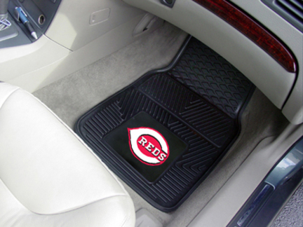 Cincinnati Reds 18in x 27in Heavy Duty 2-Piece Vinyl Car Mat Set