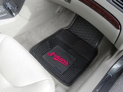 Cleveland Indians 18in x 27in Heavy Duty 2-Piece Vinyl Car Mat Set