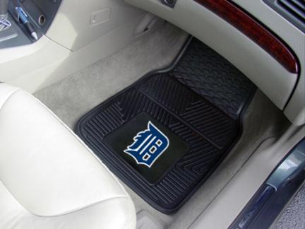 """Detroit Tigers 18"""" x 27"""" Heavy Duty 2-Piece Vinyl Car Mat Set"""