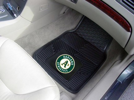 Oakland Athletics 18in x 27in Heavy Duty 2-Piece Vinyl Car Mat Set