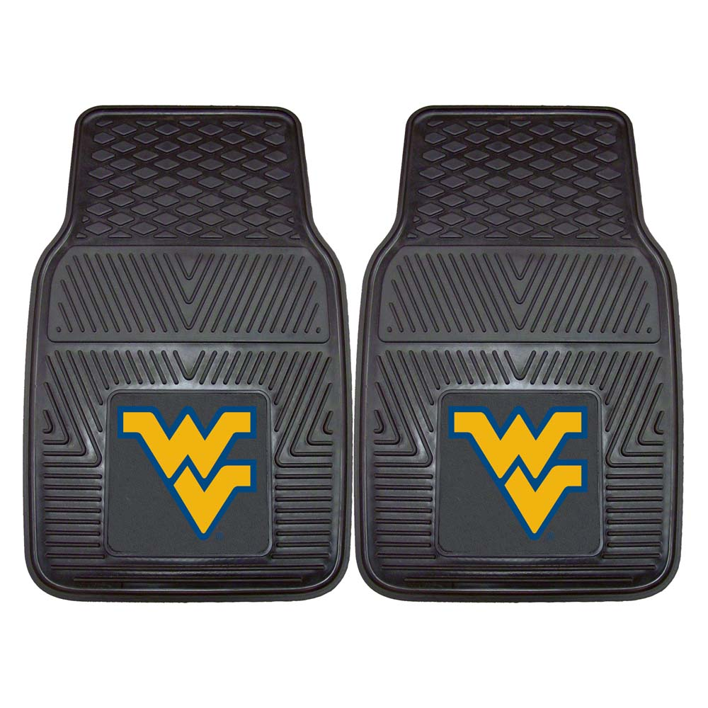 "West Virginia Mountaineers 18"" x 27"" Heavy Duty 2-Piece Vinyl Car Mat Set"