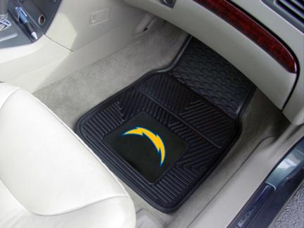 "San Diego Chargers 18"" x 27"" Heavy Duty 2-Piece Vinyl Car Mat Set"