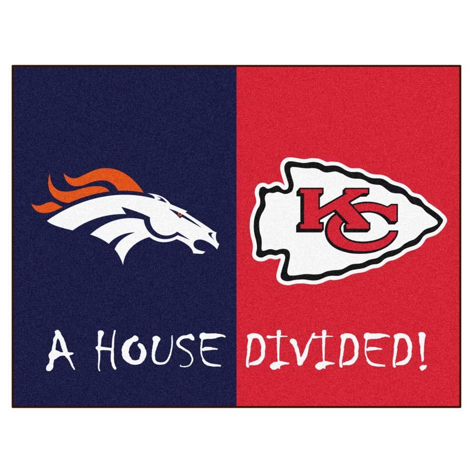 """Denver Broncos - Kansas City Chiefs House Divided Rugs 34"""" x 45"""