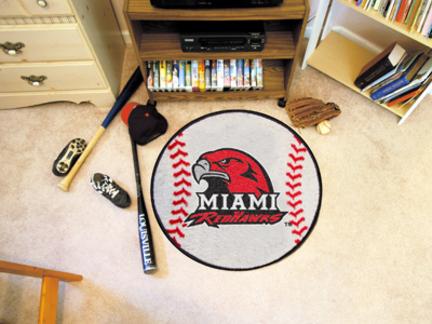 """27"""" Round Miami (Ohio) RedHawks Baseball Mat"""