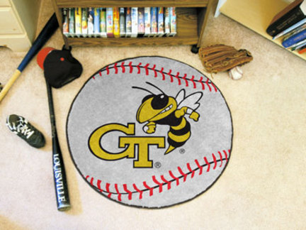 "27"" Round Georgia Tech Yellow Jackets Baseball Mat"