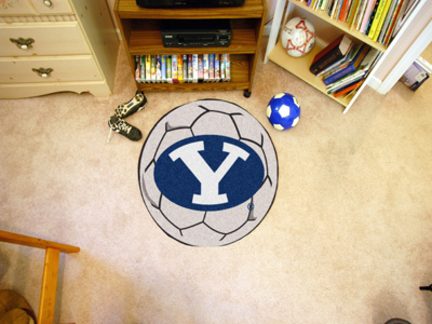 """27"""" Round Brigham Young (BYU) Cougars Soccer Mat"""