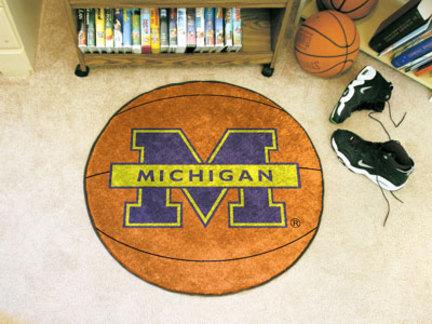 27 inch Round Michigan Wolverines Basketball Mat