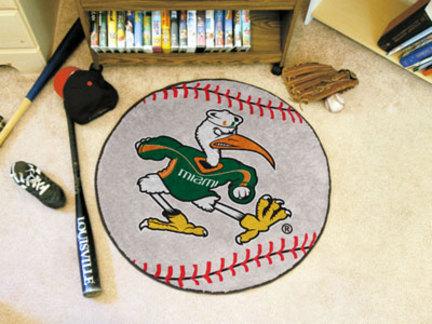 """27"""" Round Miami Hurricanes Baseball Mat"""