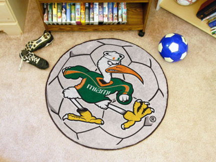 "27"" Round Miami Hurricanes Soccer Mat"