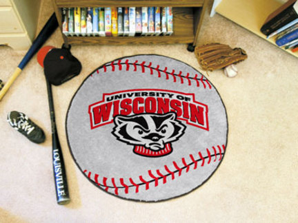 Wisconsin Badgers 27in Round Baseball Mat