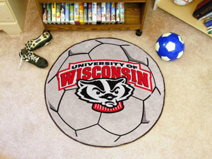 Wisconsin Badgers 27in Round Soccer Mat