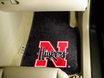 Nebraska Cornhuskers 27in x 18in Auto Floor Mat (Set of 2 Car Mats)